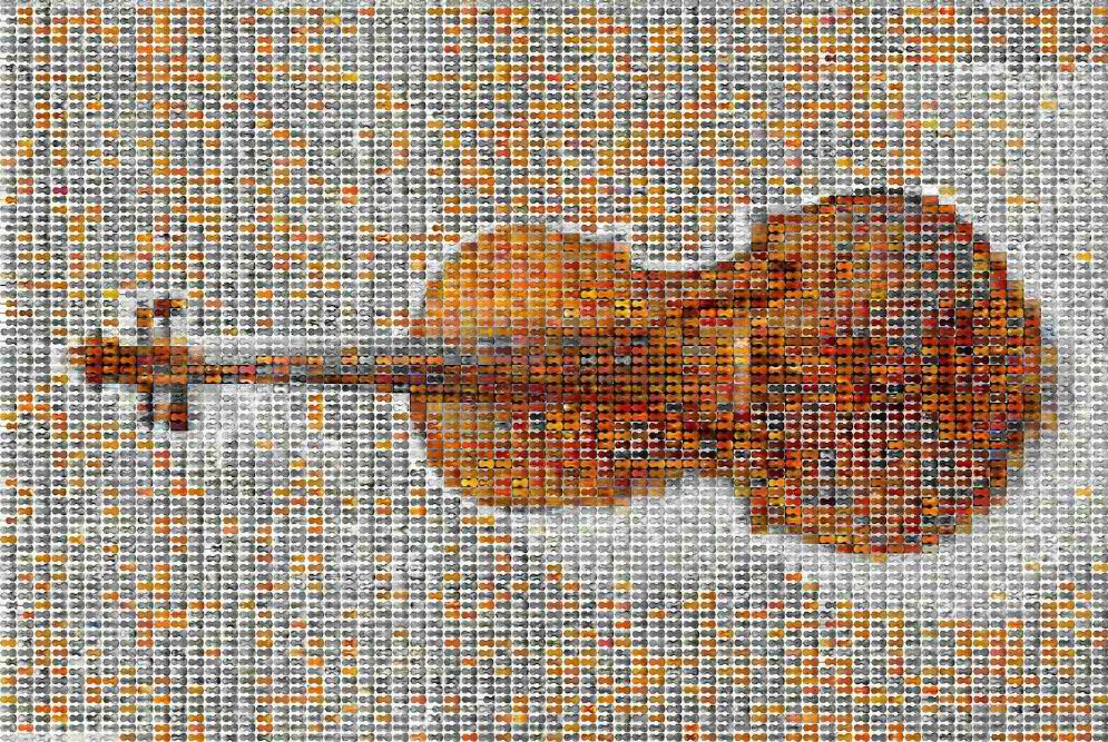 A mosaic of more than 5,000 violin images that the researcher examined in the study.